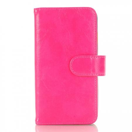 Luxury Crazy Horse Pattern Card Slot Wallet Leather Case for iPhone 7 4.7 inch - Rose Red