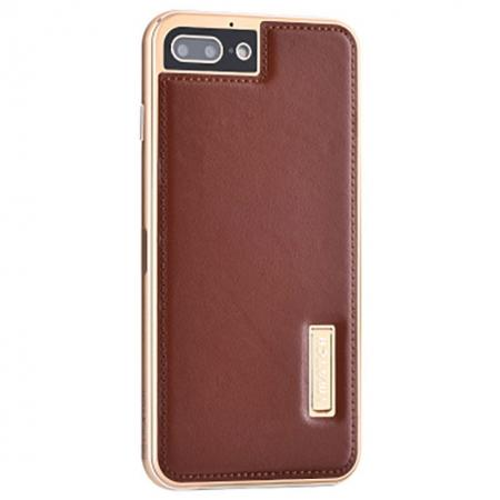 Aluminum Metal Bumper Frame+Genuine Leather Case Stand Cover For iPhone 7 4.7 inch - Gold&Brown