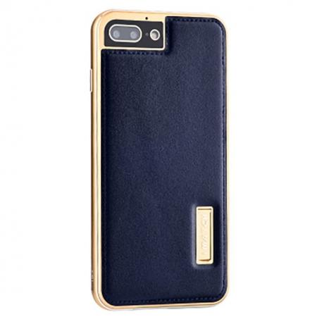 Aluminum Metal Bumper Frame+Genuine Leather Case Stand Cover For iPhone 7 4.7 inch - Gold&Dark Blue