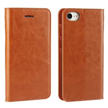 Crazy Horse Texture Genuine Leather Flip Wallet Case for iPhone 7 Plus 5.5 inch - Brown