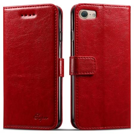 High quality PU Leather Floral Print Magnetic Stand Leather Case for iPhone 7 4.7 inch - Red
