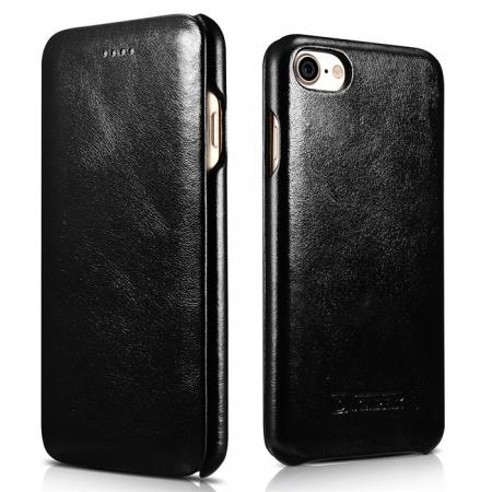 ICARER Curved Edge Vintage Series Genuine Leather Flip Case For iPhone 7 Plus 5.5 inch - Black