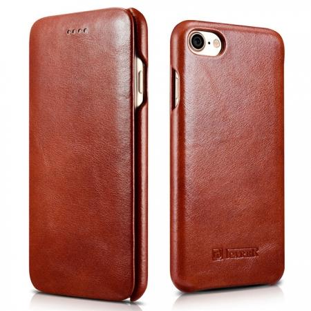 ICARER Curved Edge Vintage Series Genuine Leather Side Flip Case For iPhone 7 7 Plus 8 X - Brown