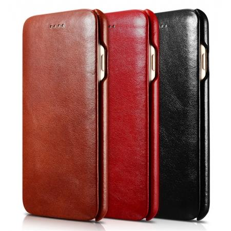 ICARER Curved Edge Vintage Series Genuine Leather Side Flip Case For iPhone 7 7 Plus 8 X XR XS XS Max