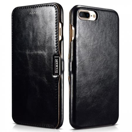 ICARER Vintage Series Genuine Leather Side Magnetic Flip Case for iPhone 7 Plus 5.5 inch - Black