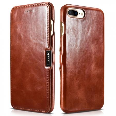 ICARER Vintage Series Genuine Leather Side Magnetic Flip Case for iPhone 7 Plus 5.5 inch - Brown