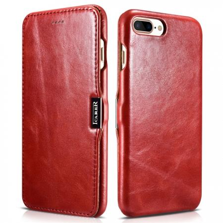 ICARER Vintage Series Genuine Leather Side Magnetic Flip Case for iPhone 7 Plus 5.5 inch - Red