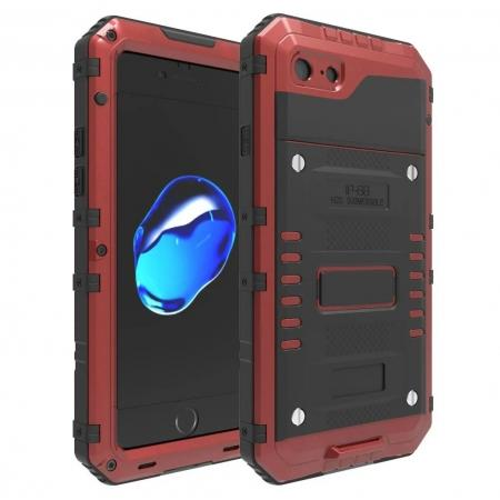 IP68 Waterproof / Dust Proof / Shockproof Aluminum Metal Case for iPhone 7 4.7inch - Red