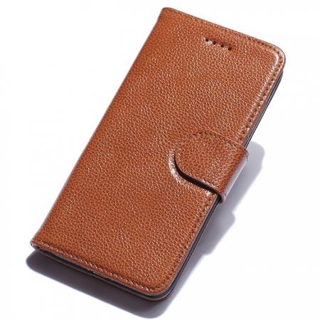 Litchi Grain Genuine Leather Wallet Cover Case with Card Slot for iPhone 7 Plus 5.5 inch - Brown