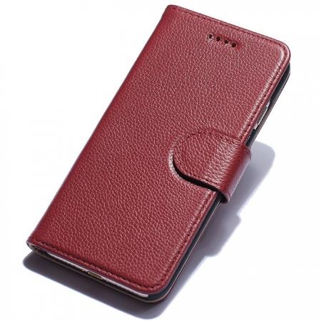 Litchi Grain Genuine Leather Wallet Cover Case with Card Slot for iPhone 7 Plus 5.5 inch - Red
