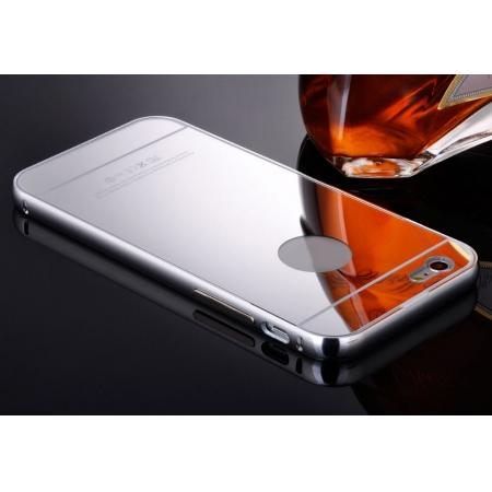 Luxury Aluminum Metal Bumper Mirror Back Case Cover for iPhone 7 4.7inch - Silver