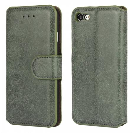 Matte Frosted Leather Flip Stand Wallet Case for iPhone 7 Plus 5.5 inch - Army Green
