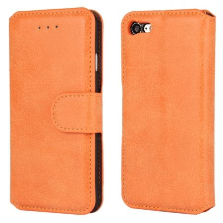 Matte Frosted Leather Flip Stand Wallet Case for iPhone 7 Plus 5.5 inch - Orange