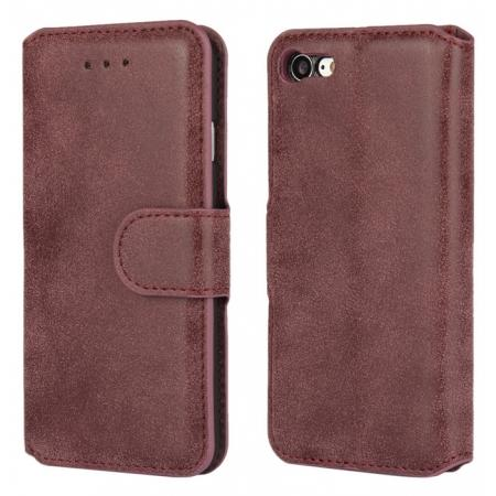 Matte Frosted Leather Flip Stand Wallet Case for iPhone 7 Plus 5.5 inch - Wine Red