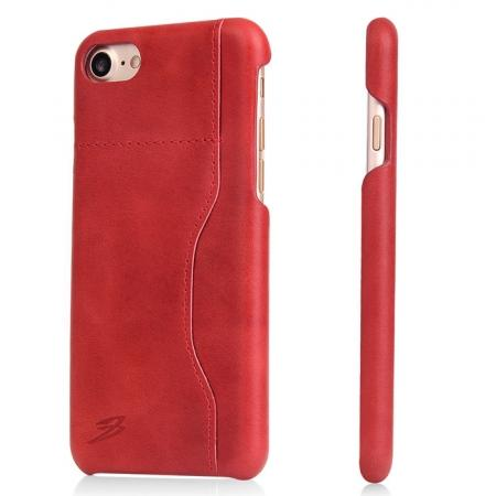 Oil Wax Grain Genuine Leather Back Cover Case With Card Slot For iPhone 7 4.7 inch - Red