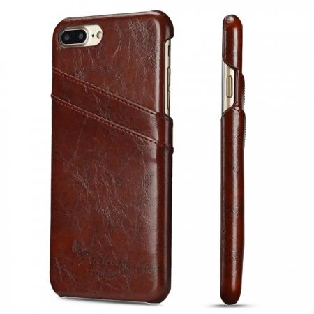 Oil Wax Pu Leather Credit Card Holder Back Case Cover for iPhone 7 Plus 5.5 inch - Brown