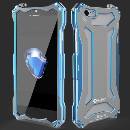 R-JUST Full Aluminum Metal Shockproof Protective Case for iPhone 7 4.7inch - Blue