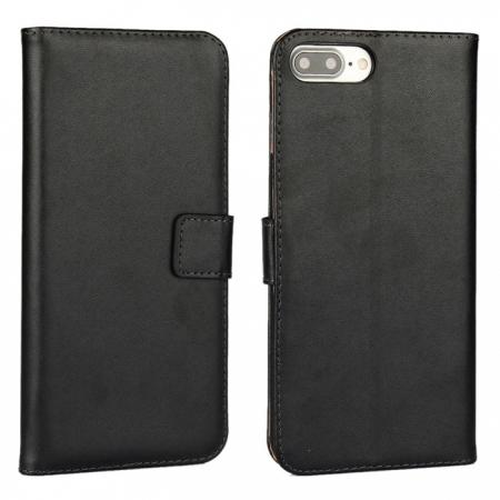 Real Genuine Leather Side Flip Wallet Case Cover for iPhone 7 4.7 inch - Black