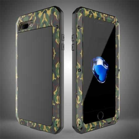 Shockproof Aluminum Metal Cover & Gorilla Glass Screen Protector Case for iPhone 7 Plus - Camouflage