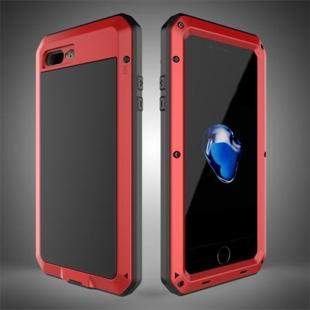Shockproof Aluminum Metal Cover & Gorilla Glass Screen Protector Case for iPhone 7 Plus - Red