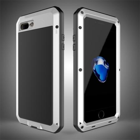 Shockproof Aluminum Metal Cover & Gorilla Glass Screen Protector Case for iPhone 7 Plus - Silver