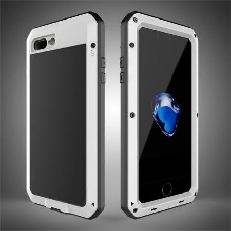 Shockproof Aluminum Metal Cover & Gorilla Glass Screen Protector Case for iPhone 7 Plus - White