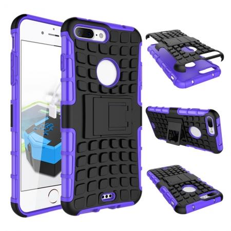 Shockproof Dual Layer Hybrid Armor Kickstand Protective Case for iPhone 7 Plus 5.5inch - Purple