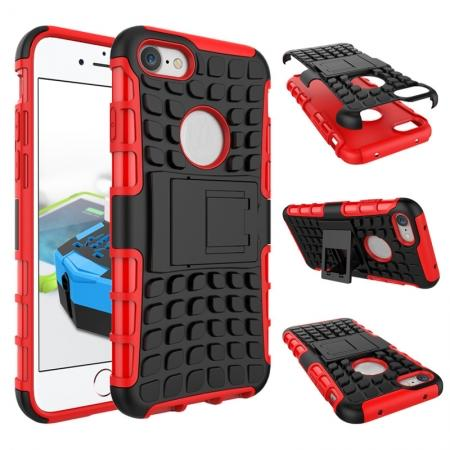 Tough Armor Shockproof Hybrid Dual Layer Kickstand Protective Case for iPhone 7 4.7inch - Red