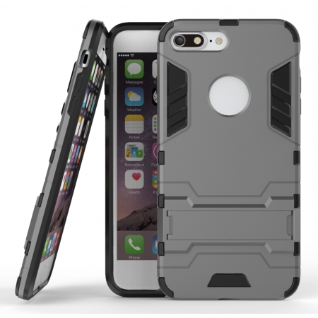 Tough Protective Kickstand Hybrid Armor Slim Skin Cover Case for iPhone 7 Plus 5.5inch - Gray