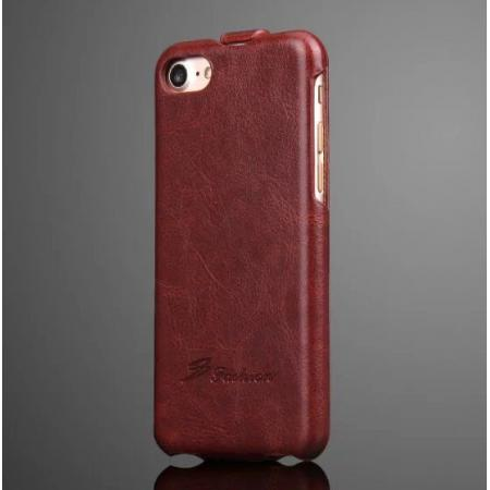 Crazy Horse Grain Top Flip Leather Case for iPhone 7 4.7inch - Brown