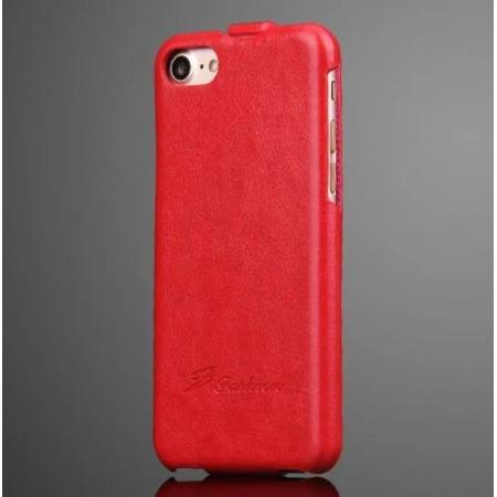 Crazy Horse Grain Top Flip Leather Case for iPhone 7 4.7inch - Red
