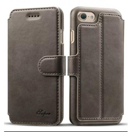 Crazy Horse Leather Flip Wallet Stand Case Cover for iPhone 7 4.7 Inch - Grey