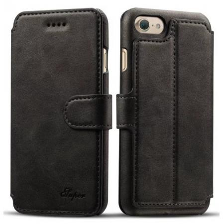 Crazy Horse Leather Flip Wallet Stand Case Cover for iPhone 7 Plus 5.5 Inch - Black