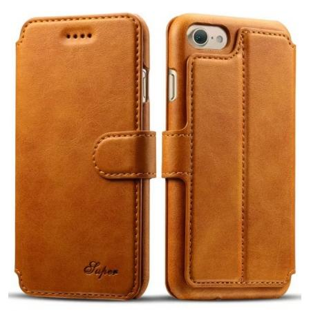 Crazy Horse Leather Flip Wallet Stand Case Cover for iPhone 7 Plus 5.5 Inch - Brown