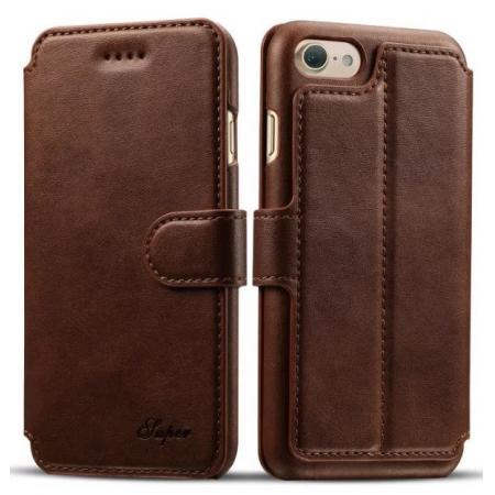 Crazy Horse Leather Flip Wallet Stand Case Cover for iPhone 7 Plus 5.5 Inch - Coffee