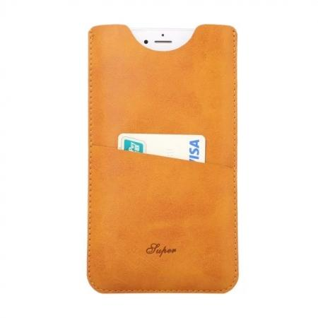 High quality Leather Pouch Case With Card Holder for iPhone 7 4.7 inch - Gold Yellow