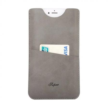 High quality Leather Pouch Case With Card Holder for iPhone 7 4.7 inch - Grey