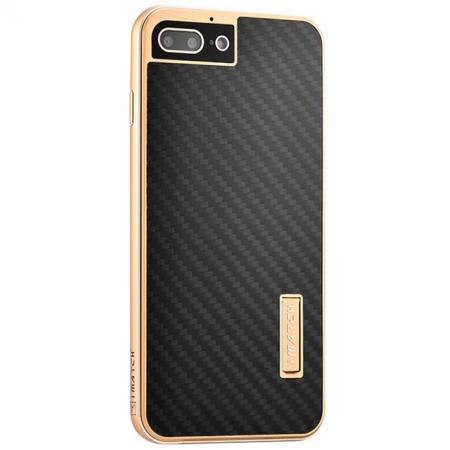 Luxury Aluminum Metal Carbon Fiber Stand Cover Case For iPhone 7 Plus 5.5 inch - Gold&Black