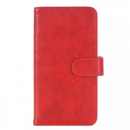 Luxury Crazy Horse Leather Flip Case Wallet With Card Holder for iPhone 7 Plus 5.5 inch - Red