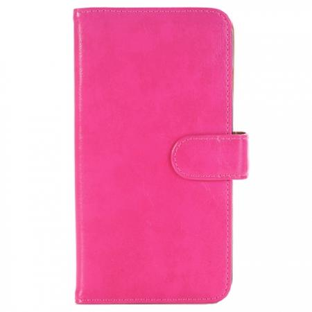 Luxury Crazy Horse Leather Flip Case Wallet With Card Holder for iPhone 7 Plus 5.5 inch - Rose Red