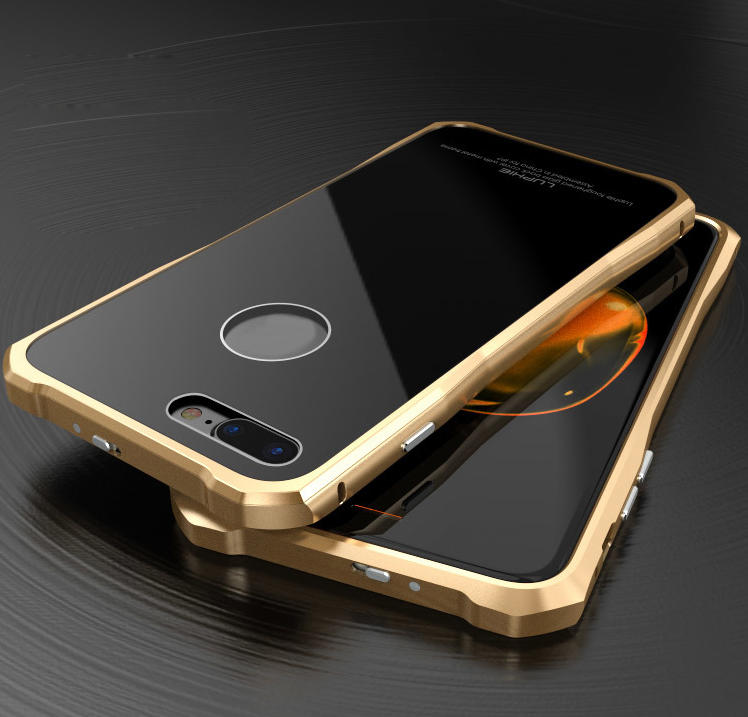 Luxury Metal Bumper Case & Gorilla Tempered Glass Back Cover For iPhone 7 Plus - Gold&Black