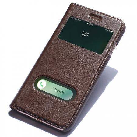 Luxury Real Genuine Leather Double Window Flip Case for iPhone 7 4.7 Inch - Brown