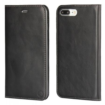 Luxury Top Layer Cowhide Genuine Leather Wallet Case for iPhone 7 Plus 5.5 inch - Black