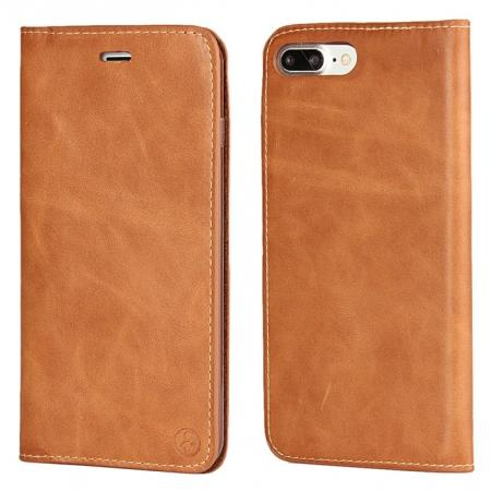 Luxury Top Layer Cowhide Genuine Leather Wallet Case for iPhone 7 Plus 5.5 inch - Brown