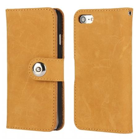 Matte First Layer Cowhide Genuine Leather Wallet Case for iPhone 7 4.7 inch - Brown