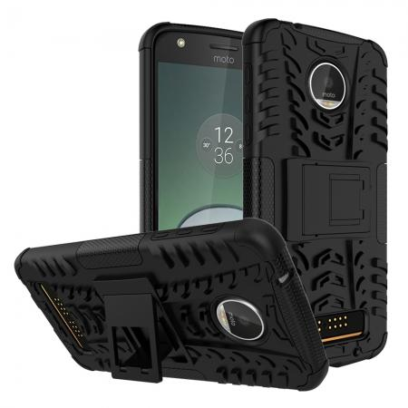 Silm Armor Kickstand Protective Cover Case For Motorola Moto Z Play/ Moto Z Play Droid - Black
