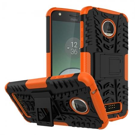 Silm Armor Kickstand Protective Cover Case For Motorola Moto Z Play/ Moto Z Play Droid - Orange