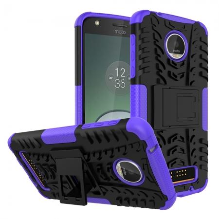 Silm Armor Kickstand Protective Cover Case For Motorola Moto Z Play/ Moto Z Play Droid - Purple