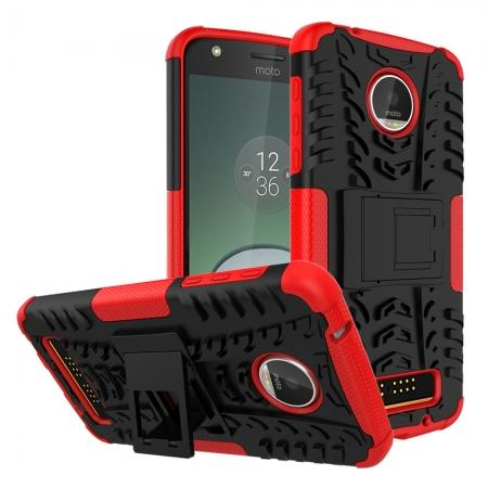 Silm Armor Kickstand Protective Cover Case For Motorola Moto Z Play/ Moto Z Play Droid - Red