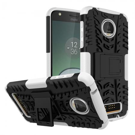 Silm Armor Kickstand Protective Cover Case For Motorola Moto Z Play/ Moto Z Play Droid - White